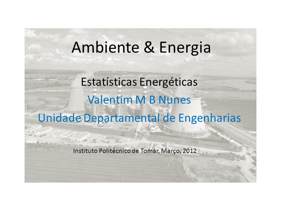 Ambiente & Energia Estatísticas Energéticas Valentim M B Nunes