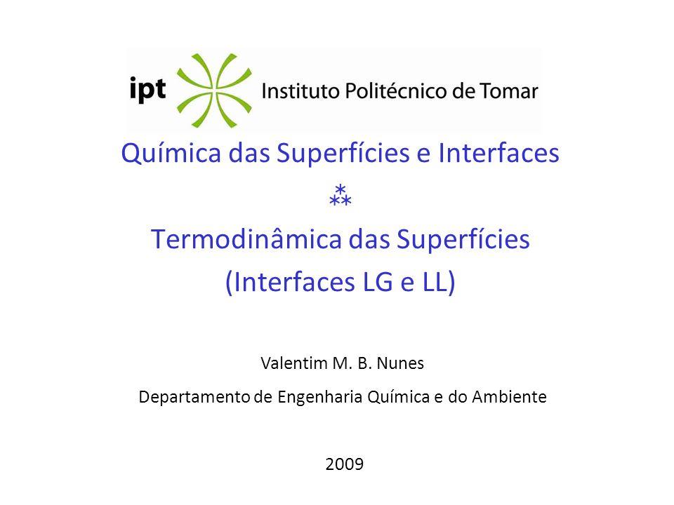 Química das Superfícies e Interfaces  Termodinâmica das Superfícies