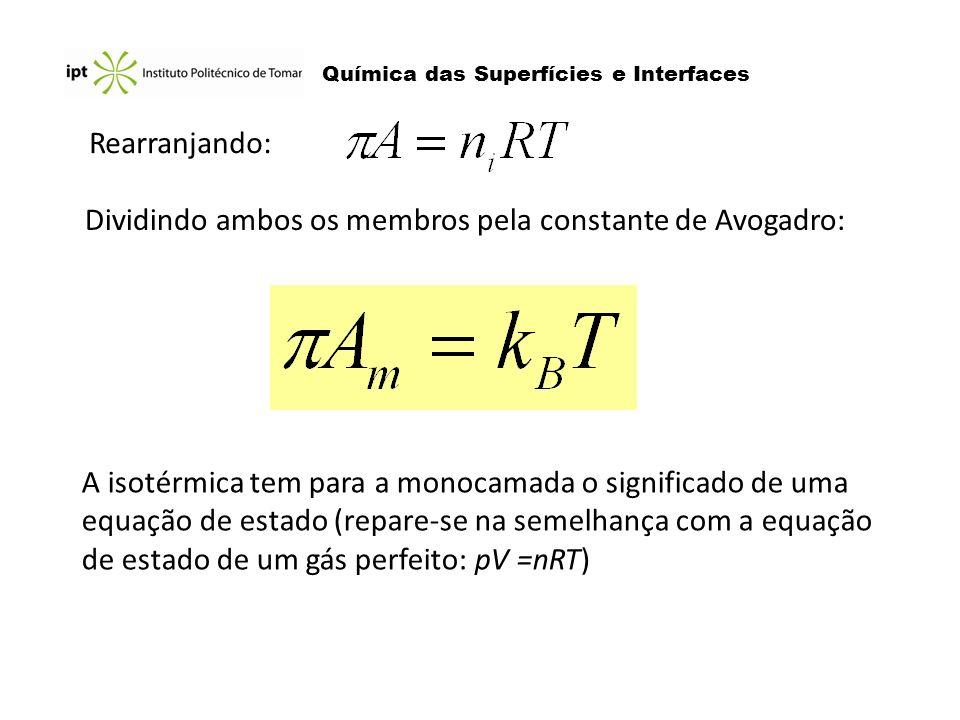 Dividindo ambos os membros pela constante de Avogadro: