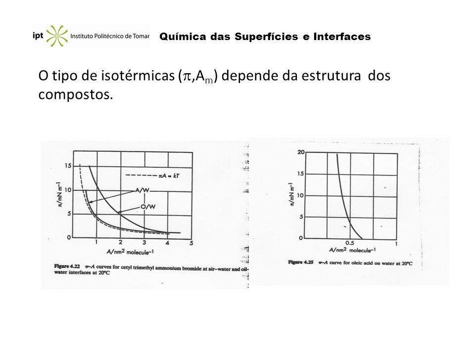 O tipo de isotérmicas (,Am) depende da estrutura dos compostos.