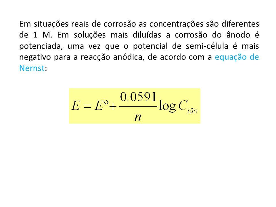 Em situações reais de corrosão as concentrações são diferentes de 1 M