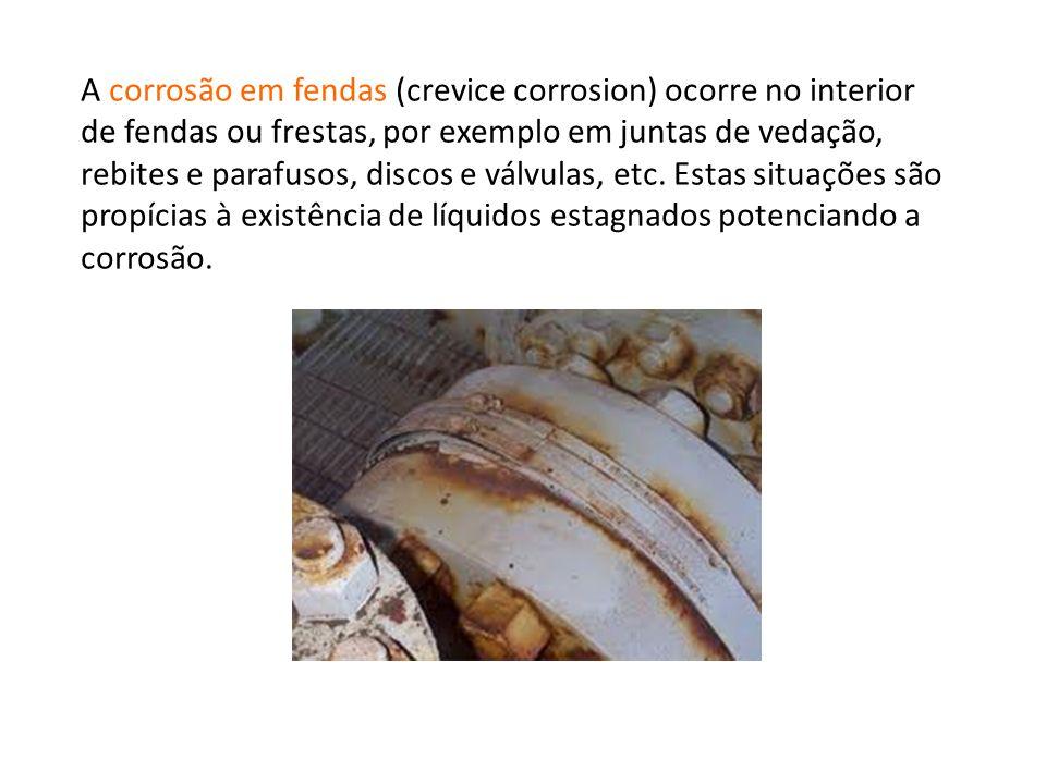 A corrosão em fendas (crevice corrosion) ocorre no interior de fendas ou frestas, por exemplo em juntas de vedação, rebites e parafusos, discos e válvulas, etc.