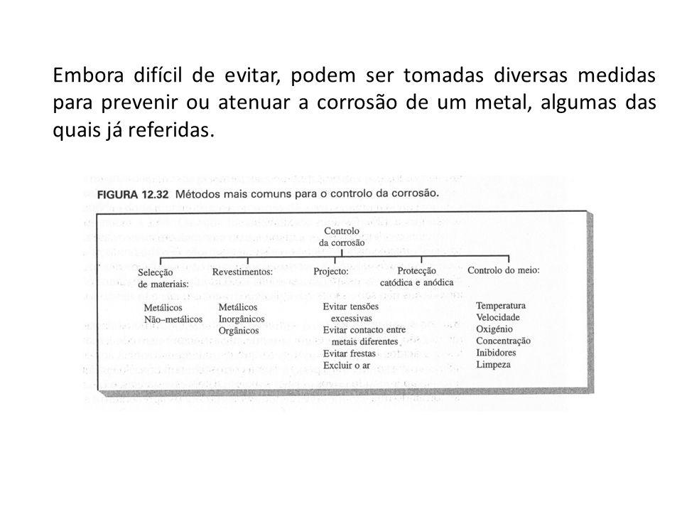 Embora difícil de evitar, podem ser tomadas diversas medidas para prevenir ou atenuar a corrosão de um metal, algumas das quais já referidas.