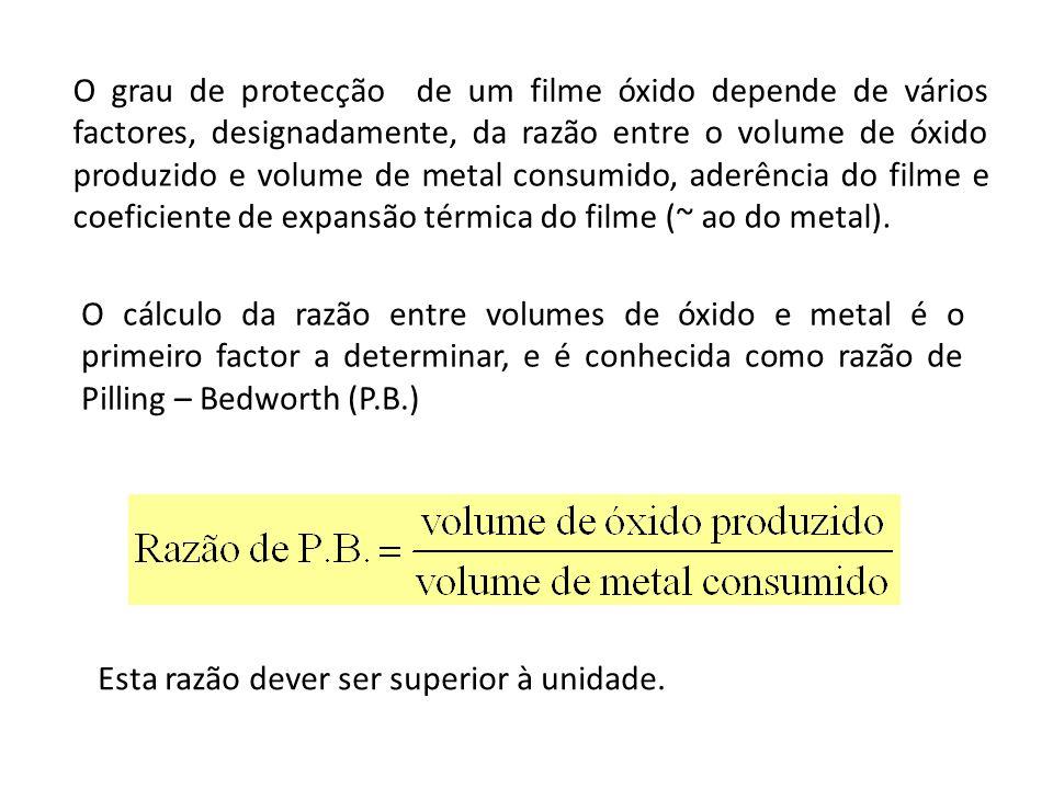 O grau de protecção de um filme óxido depende de vários factores, designadamente, da razão entre o volume de óxido produzido e volume de metal consumido, aderência do filme e coeficiente de expansão térmica do filme (~ ao do metal).