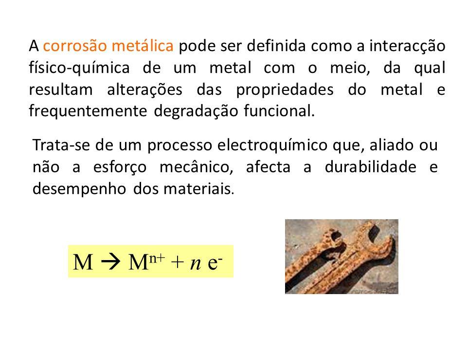 A corrosão metálica pode ser definida como a interacção físico-química de um metal com o meio, da qual resultam alterações das propriedades do metal e frequentemente degradação funcional.