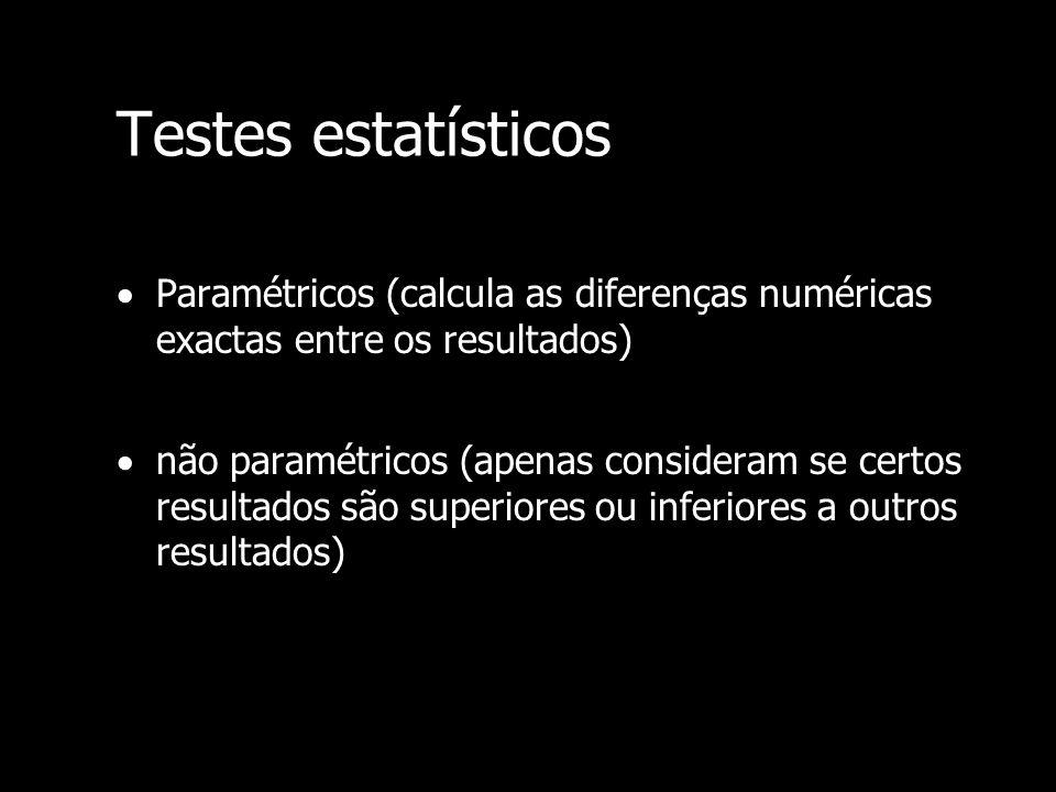 Testes estatísticos Paramétricos (calcula as diferenças numéricas exactas entre os resultados)
