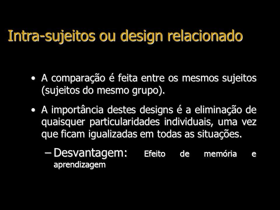 Intra-sujeitos ou design relacionado