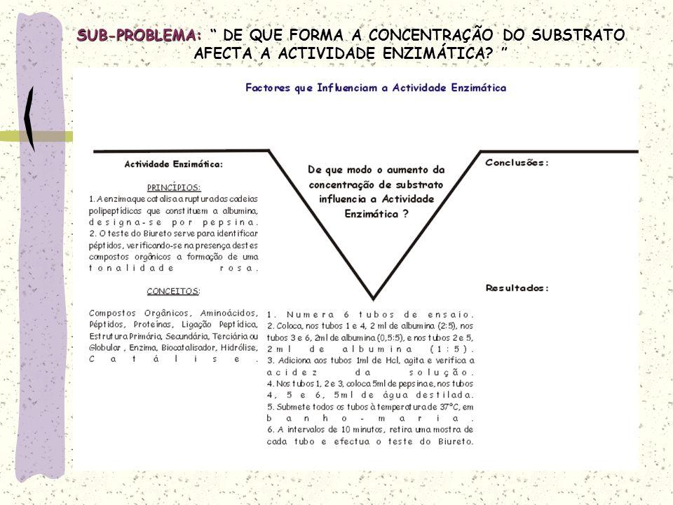 SUB-PROBLEMA: DE QUE FORMA A CONCENTRAÇÃO DO SUBSTRATO AFECTA A ACTIVIDADE ENZIMÁTICA