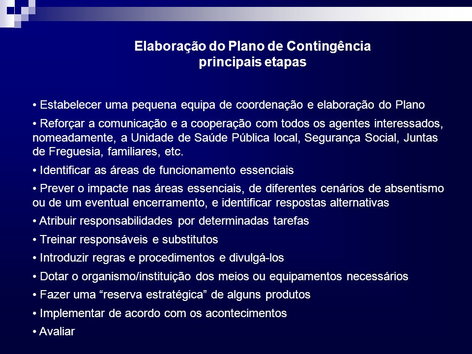Elaboração do Plano de Contingência