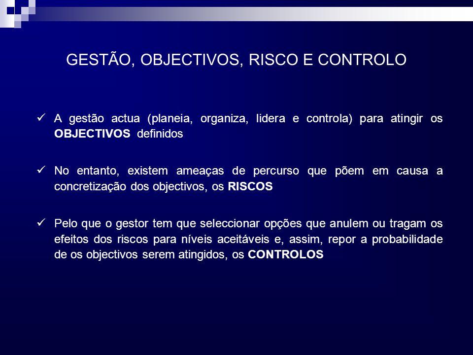 GESTÃO, OBJECTIVOS, RISCO E CONTROLO