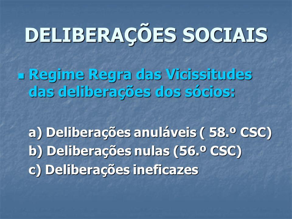 DELIBERAÇÕES SOCIAIS Regime Regra das Vicissitudes das deliberações dos sócios: a) Deliberações anuláveis ( 58.º CSC)