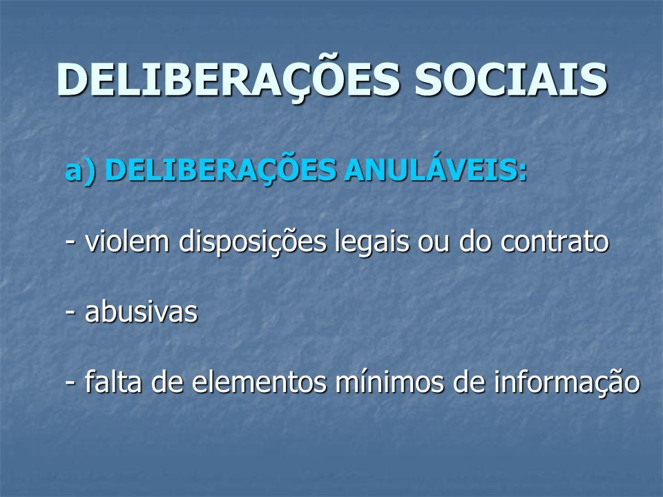 DELIBERAÇÕES SOCIAIS a) DELIBERAÇÕES ANULÁVEIS: