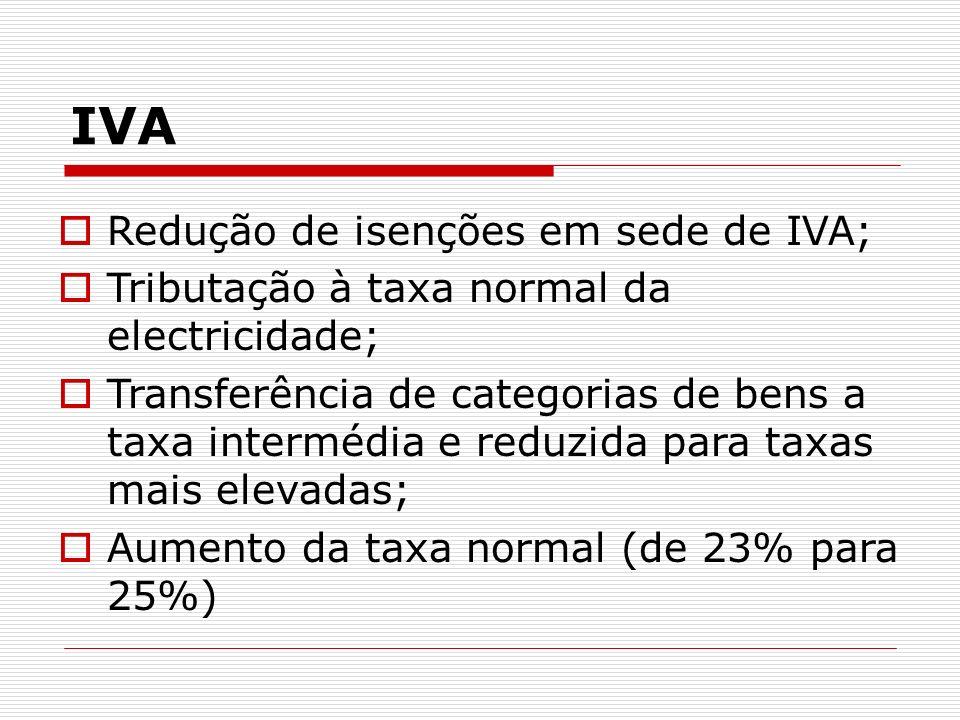 IVA Redução de isenções em sede de IVA;