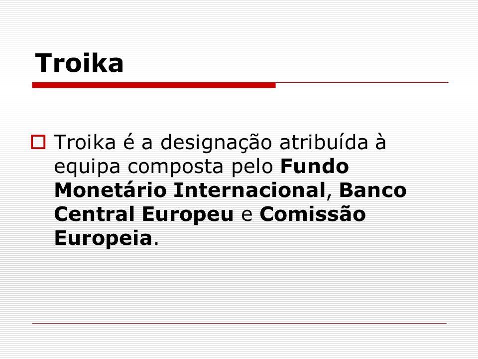 TroikaTroika é a designação atribuída à equipa composta pelo Fundo Monetário Internacional, Banco Central Europeu e Comissão Europeia.