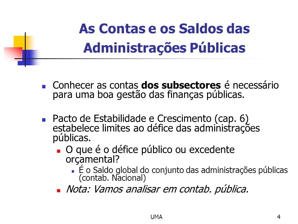 As Contas e os Saldos das Administrações Públicas