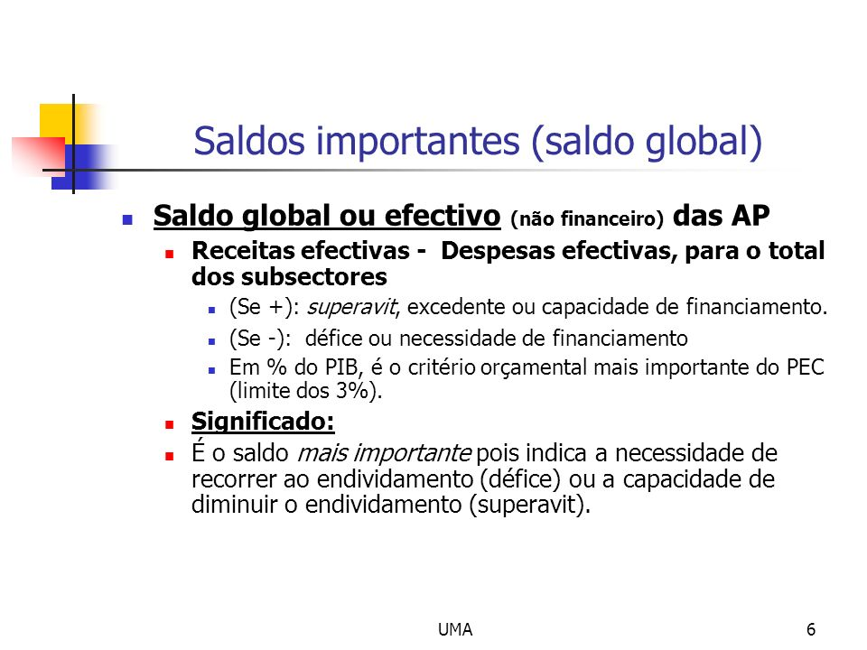 Saldos importantes (saldo global)
