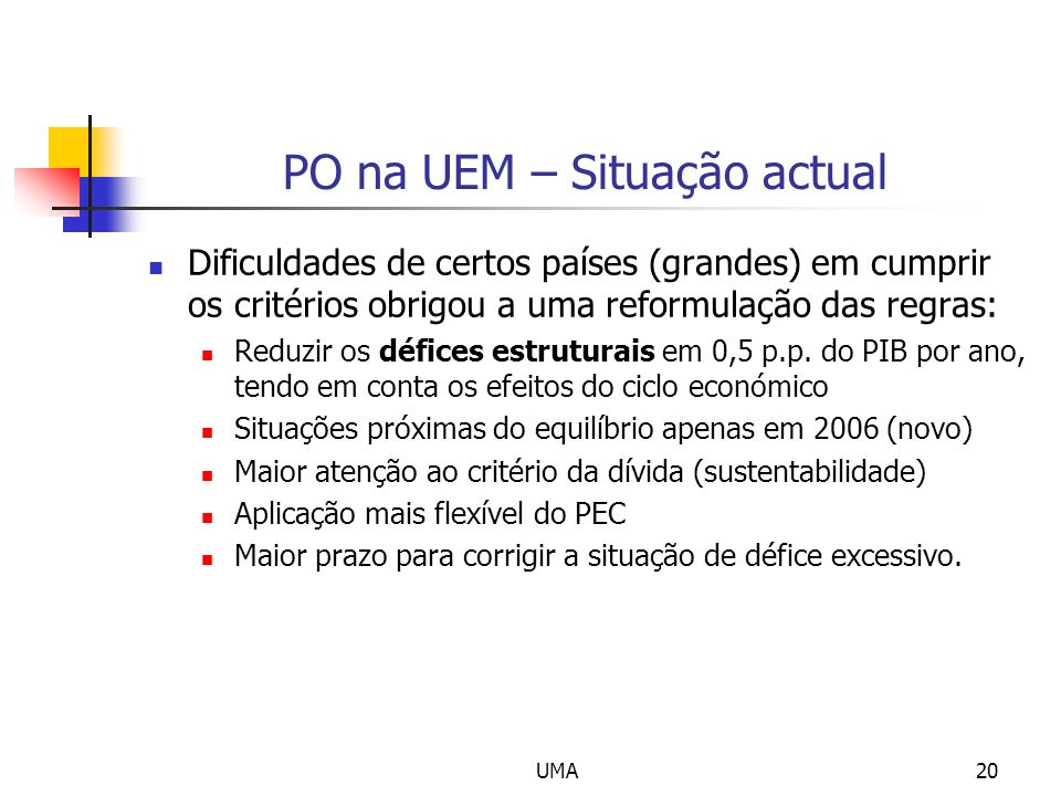 PO na UEM – Situação actual