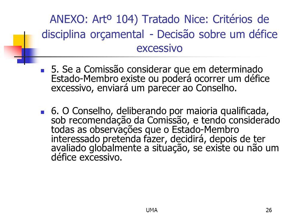 ANEXO: Artº 104) Tratado Nice: Critérios de disciplina orçamental - Decisão sobre um défice excessivo