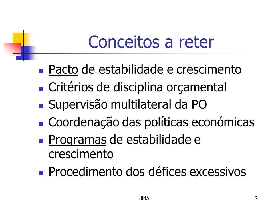 Conceitos a reter Pacto de estabilidade e crescimento