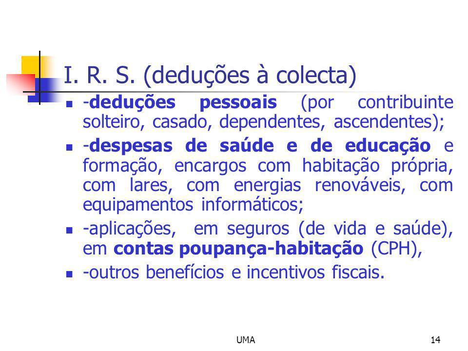 I. R. S. (deduções à colecta)