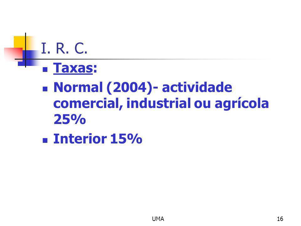 I. R. C. Taxas: Normal (2004)- actividade comercial, industrial ou agrícola 25% Interior 15% UMA