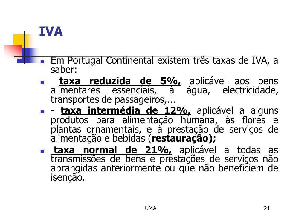 IVA Em Portugal Continental existem três taxas de IVA, a saber: