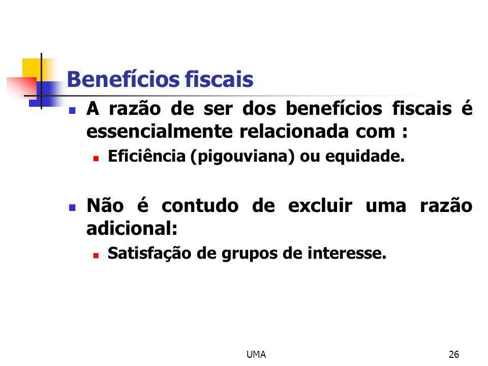 Benefícios fiscais A razão de ser dos benefícios fiscais é essencialmente relacionada com : Eficiência (pigouviana) ou equidade.