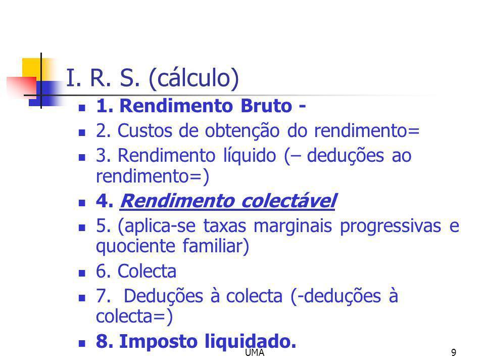 I. R. S. (cálculo) 1. Rendimento Bruto -