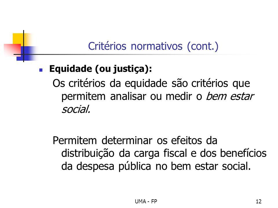 Critérios normativos (cont.)