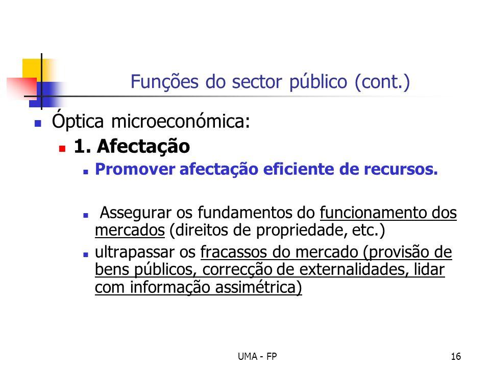 Funções do sector público (cont.)
