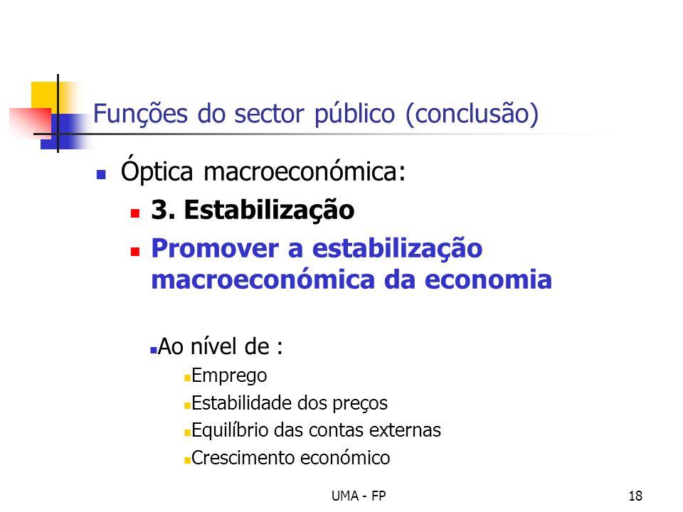 Funções do sector público (conclusão)