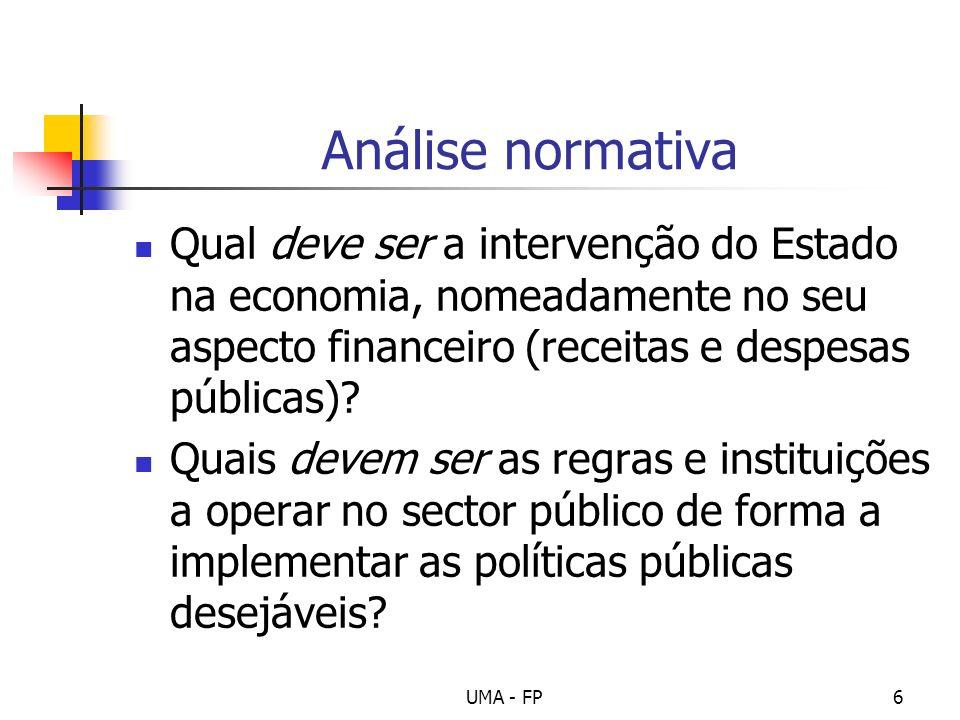 Análise normativa Qual deve ser a intervenção do Estado na economia, nomeadamente no seu aspecto financeiro (receitas e despesas públicas)