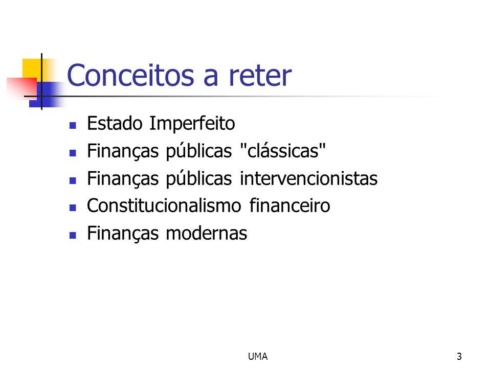 Conceitos a reter Estado Imperfeito Finanças públicas clássicas