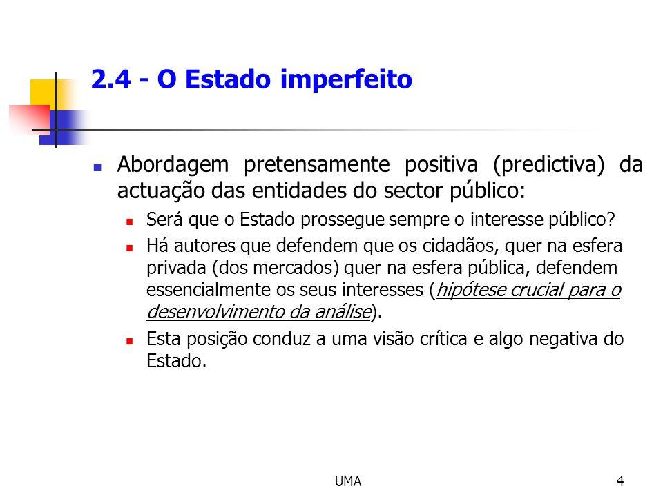 2.4 - O Estado imperfeito Abordagem pretensamente positiva (predictiva) da actuação das entidades do sector público: