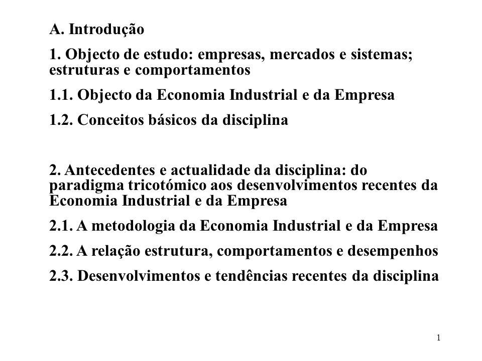 A. Introdução 1. Objecto de estudo: empresas, mercados e sistemas; estruturas e comportamentos. 1.1. Objecto da Economia Industrial e da Empresa.