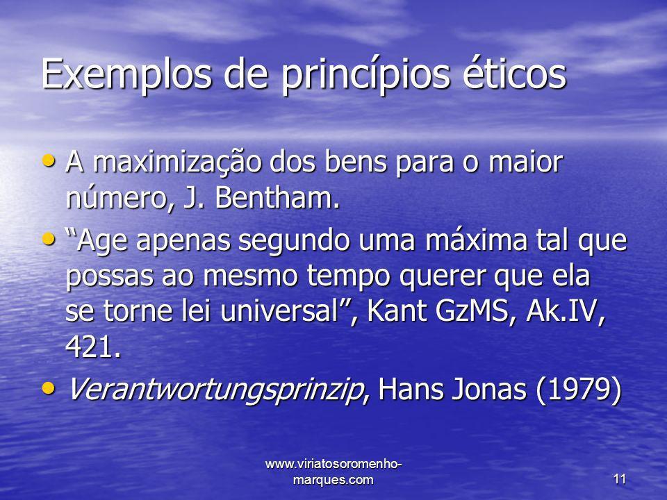 Exemplos de princípios éticos