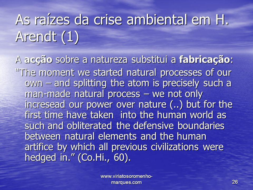 As raízes da crise ambiental em H. Arendt (1)