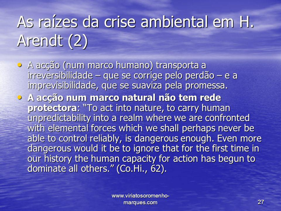 As raízes da crise ambiental em H. Arendt (2)