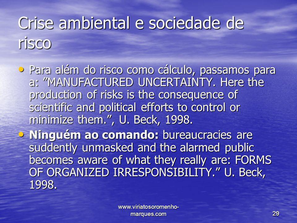 Crise ambiental e sociedade de risco