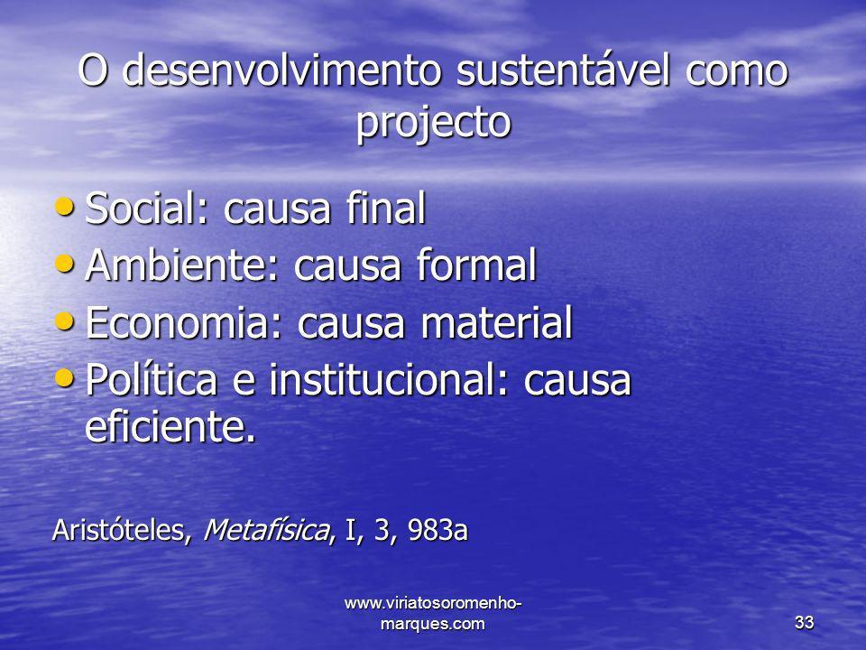 O desenvolvimento sustentável como projecto