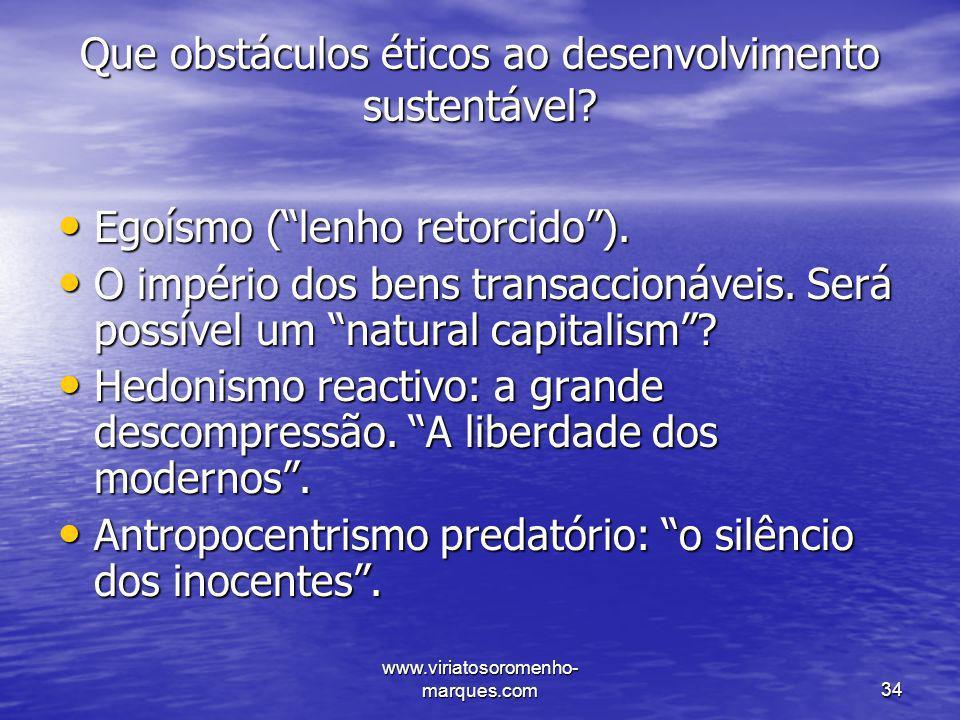 Que obstáculos éticos ao desenvolvimento sustentável
