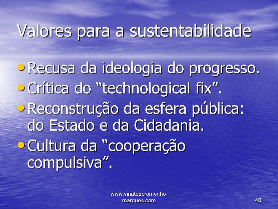 Valores para a sustentabilidade