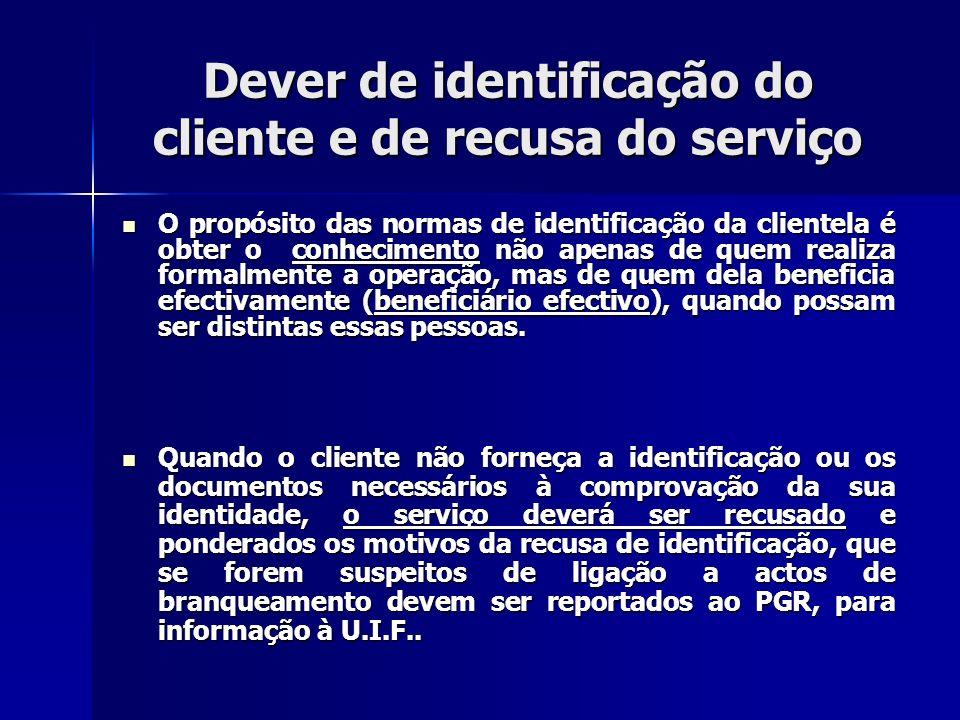 Dever de identificação do cliente e de recusa do serviço