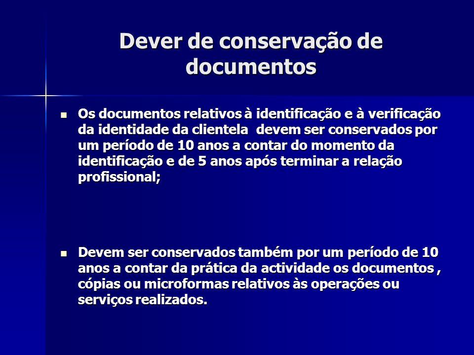 Dever de conservação de documentos