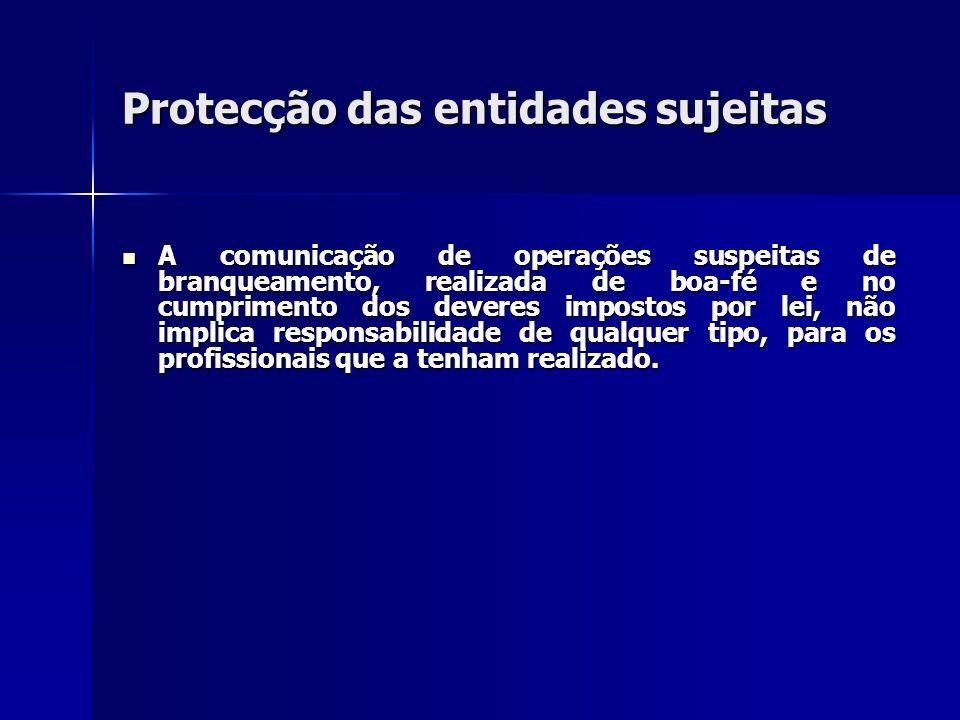 Protecção das entidades sujeitas