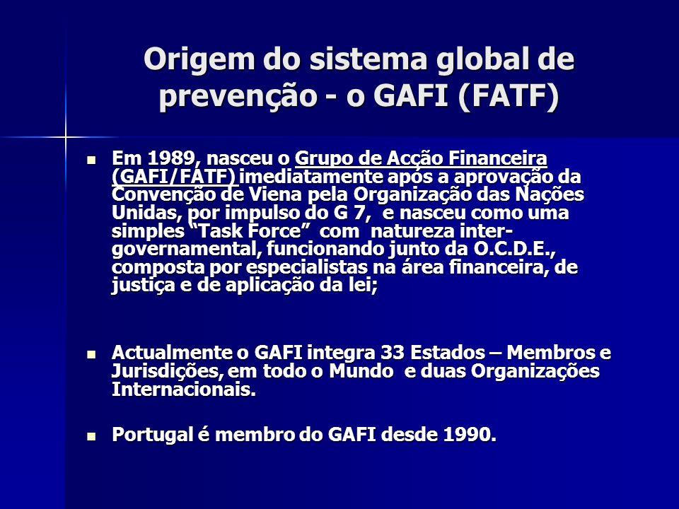 Origem do sistema global de prevenção - o GAFI (FATF)