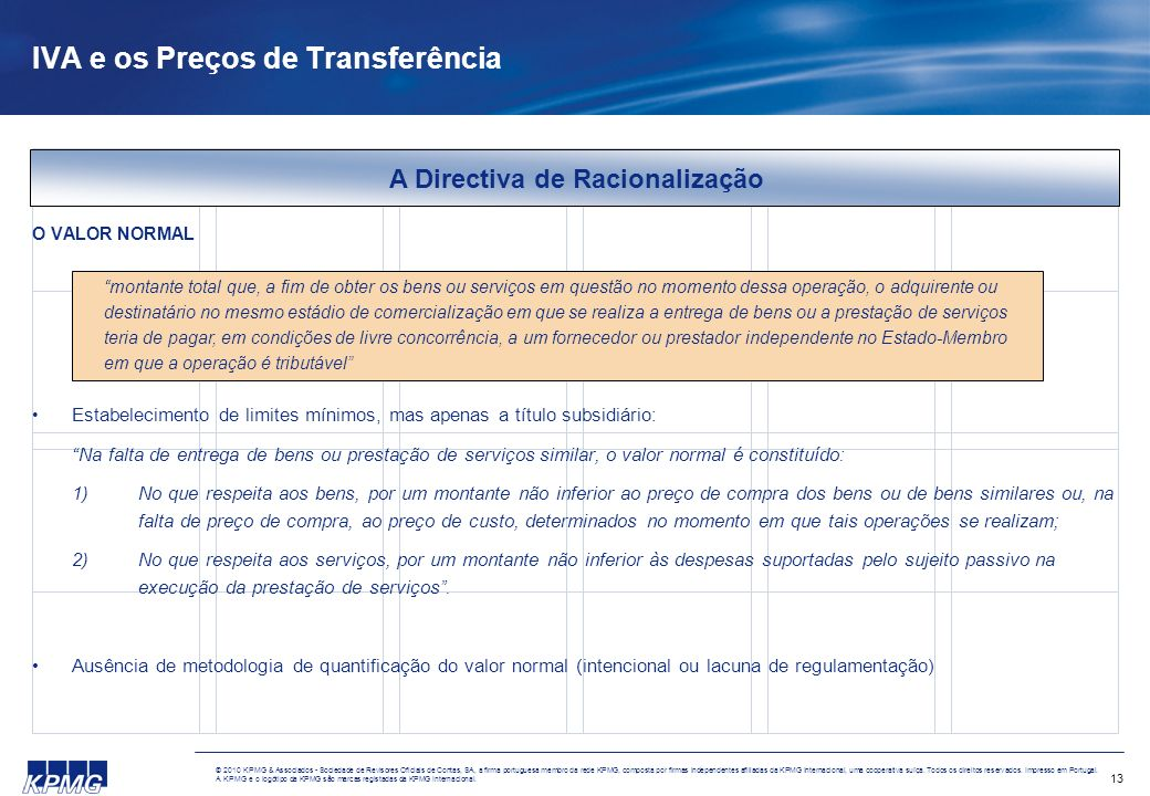 IVA e os Preços de Transferência