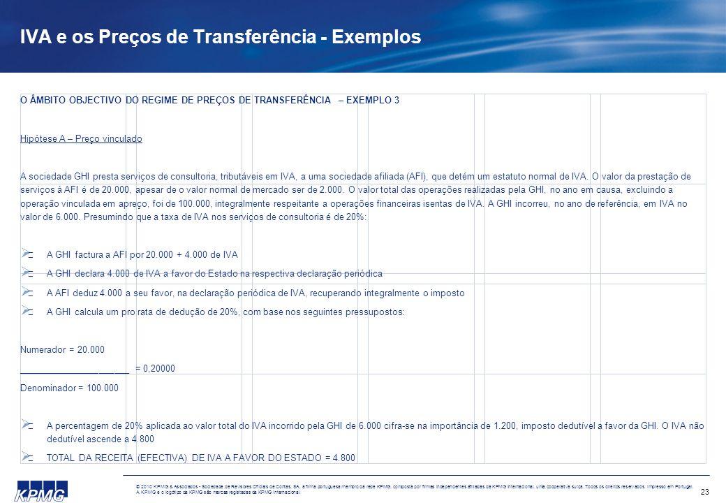 IVA e os Preços de Transferência - Exemplos