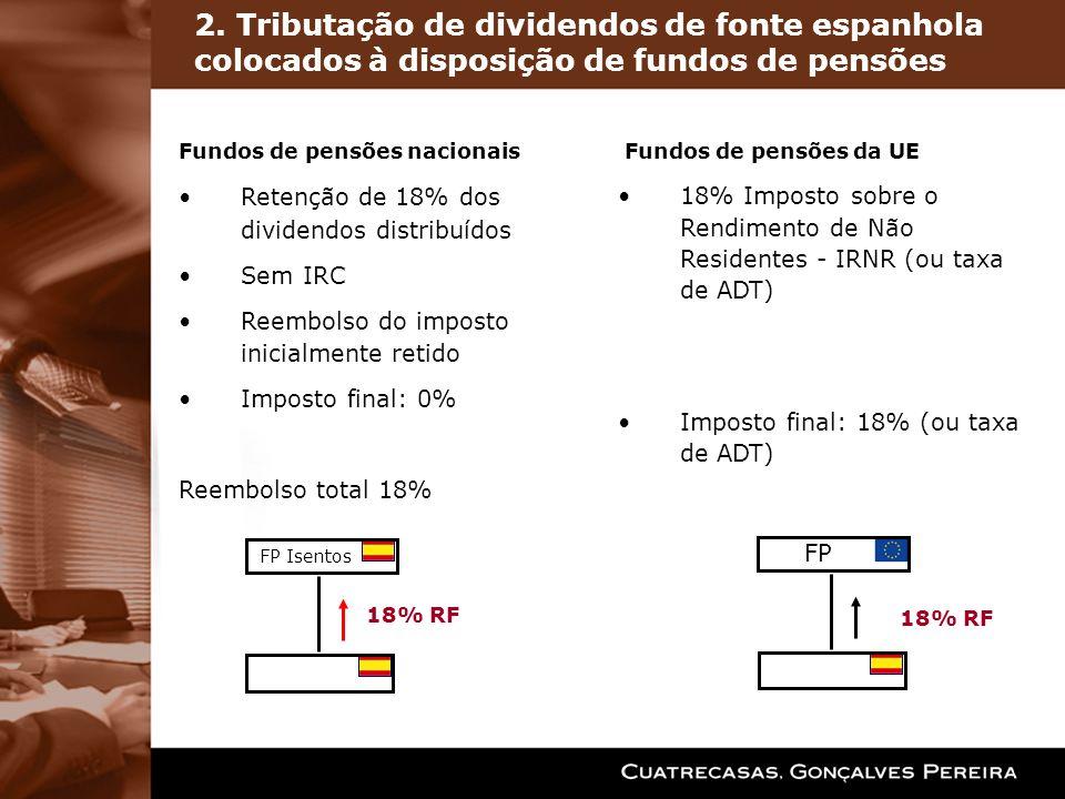 2. Tributação de dividendos de fonte espanhola colocados à disposição de fundos de pensões