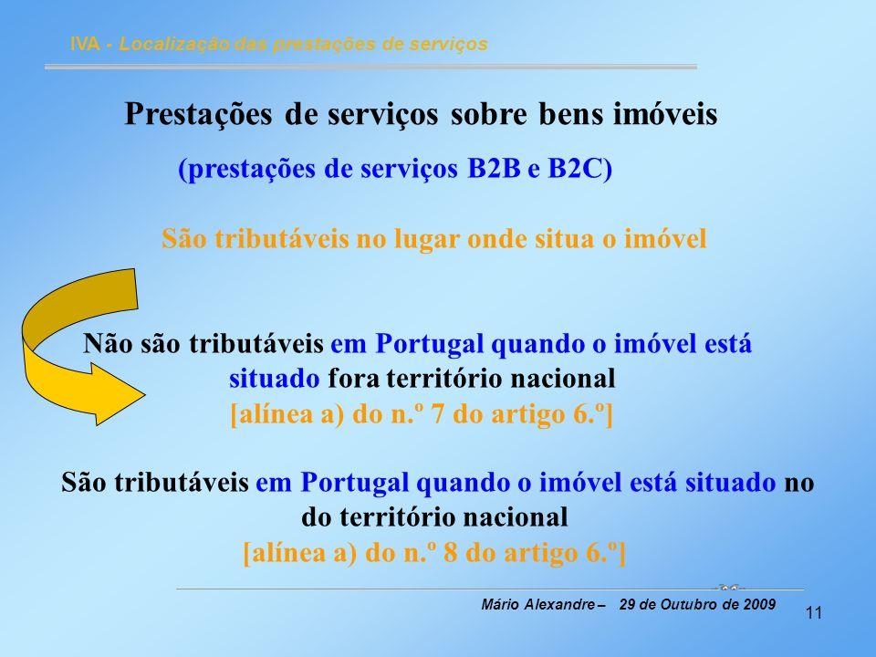 Prestações de serviços sobre bens imóveis